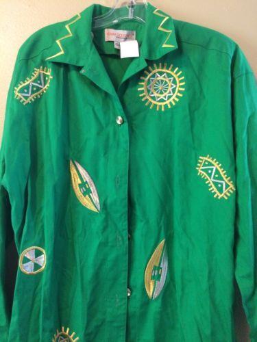 VTG Adam Douglass Adrianna Papell Long Green Gold Embroidered Dress Jacket Sz 6