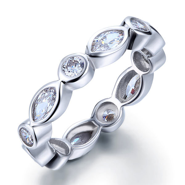 Marquise Lab Diamond 925 Sterling Silver Ring Eternity Anniversary Wedding Band