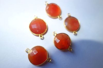 5PCS.CARNELIAN CHALCEDONY GOLD PLATED 15MM ROUND#AG5524