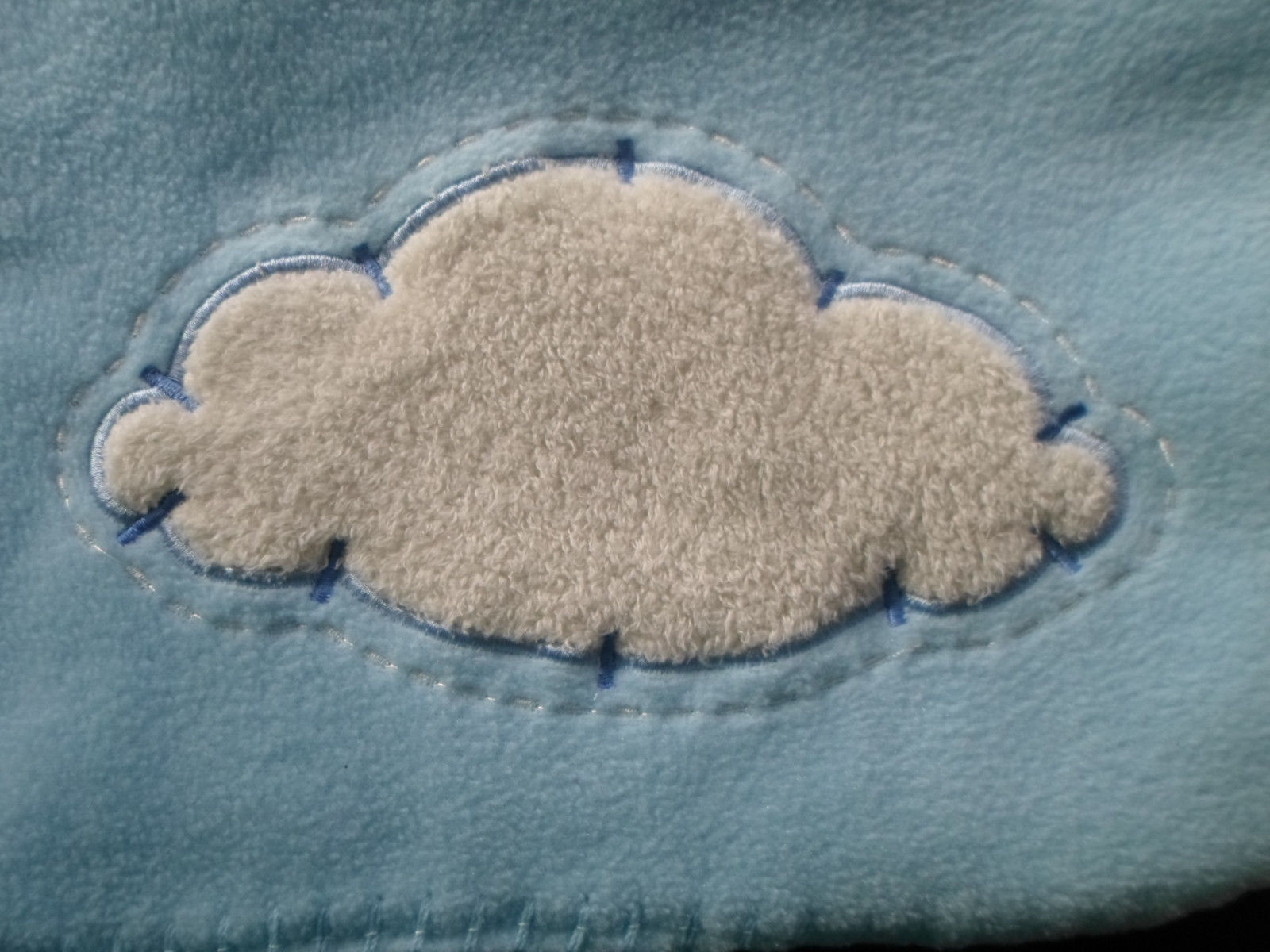 Blankets and Beyond Blue Baby Blanket White Cloud Fleece Lovey