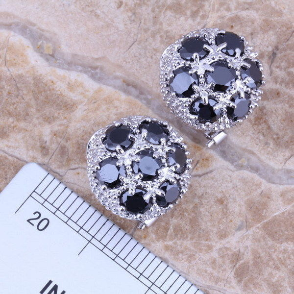 AAA WHITE,BLACK Sapphire Topaz 2-TONE STERLING Jewelry Sets