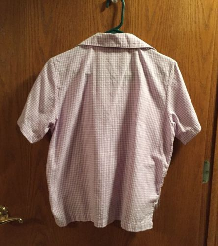 Women's Purple/White  Gingham Check Twinset With Embroidery Top-M