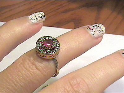 VINTAGE ANTIQUE RUBY  SILVER RING 7.5 MEDIEVAL NATURAL STERLING 925 small