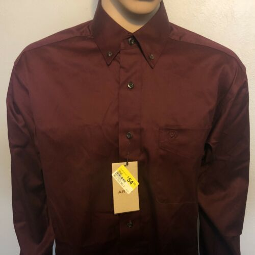 Men's Ariat Western Long Sleeve Button Front Burgundy Shirt Large Tall 10021077