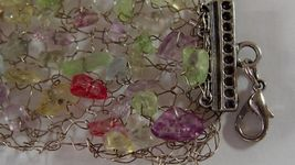 Handmade Bracelet Metal Wire Woven Knitted Multicolored Gemstones image 5