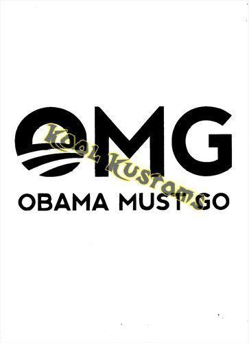 VINYL DECAL STICKER ANTI OBAMA MUST GO....FUNNY...CAR TRUCK WINDOW...LAPTOP