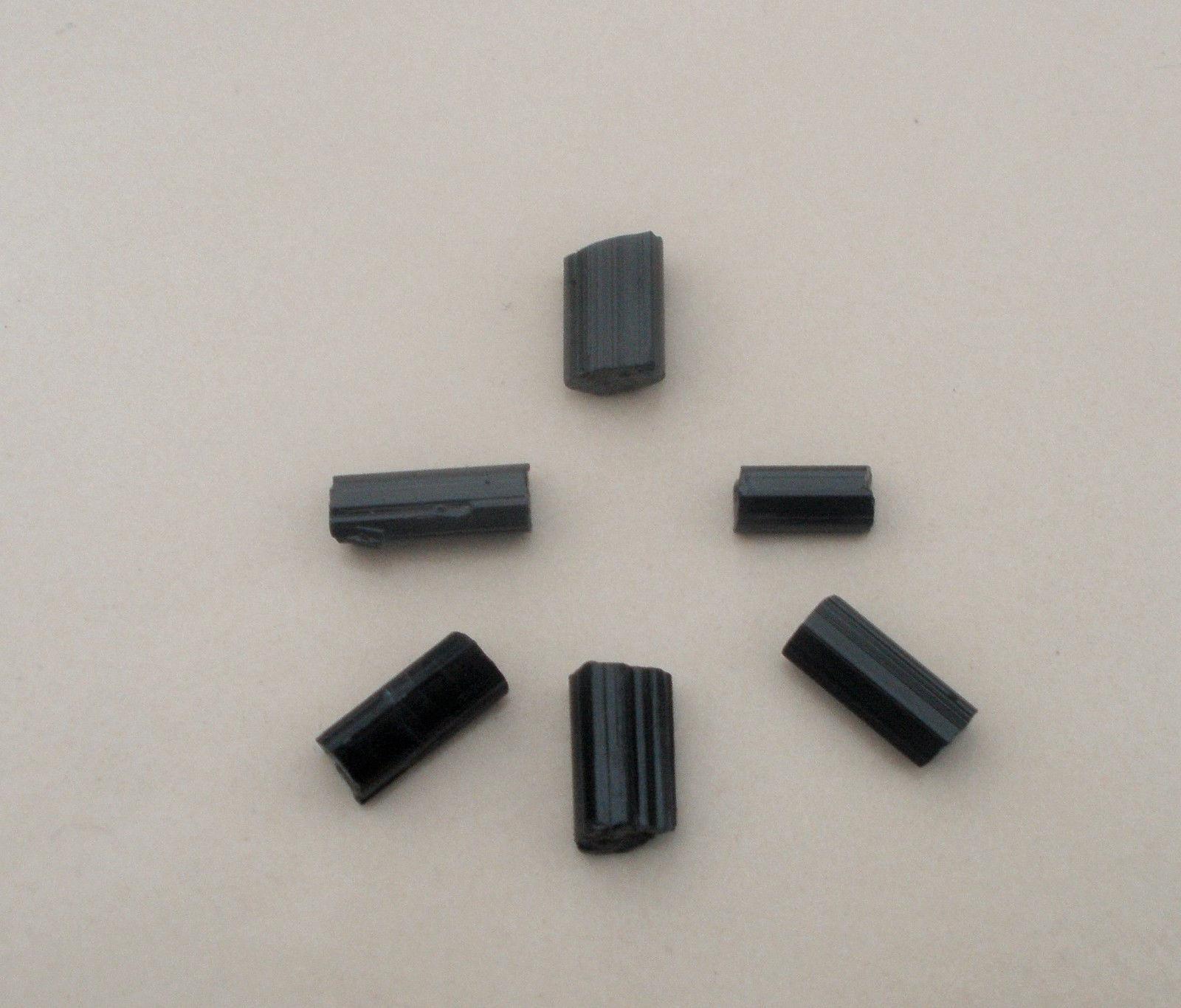 6 Black Tourmaline crystal rough gems 9mm to 12mm each