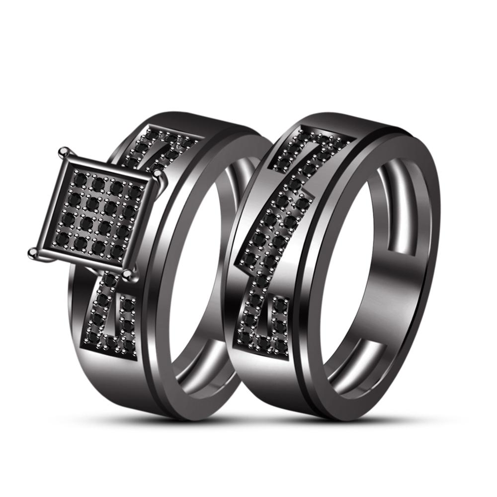 Sterling Silver Black Cubic Zirconia Engagement Trio Ring Set In 18K Black GP