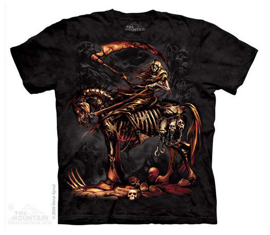 New Scythe Reaper Adult Medium T-shirt by Mountain Halloween Horror Tee
