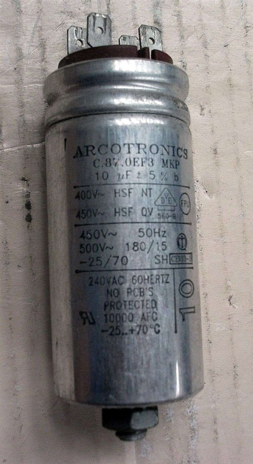 ARCOTRONICS CAPACITOR, MOTOR START/RUN 10uf 400v 450v used