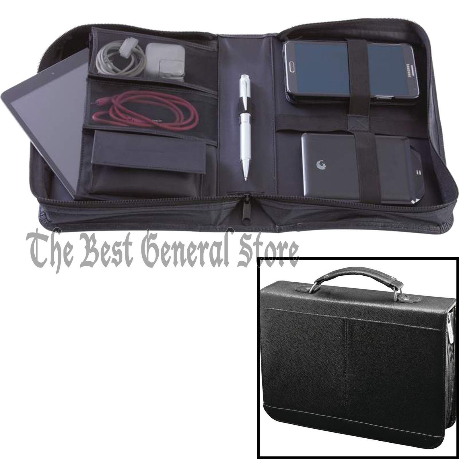 Black Cowhide Leather Electronics Travel Case with Interior Pockets and Handle