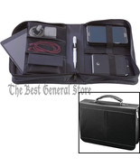 Black Cowhide Leather Electronics Travel Case with Interior Pockets and ... - $21.49