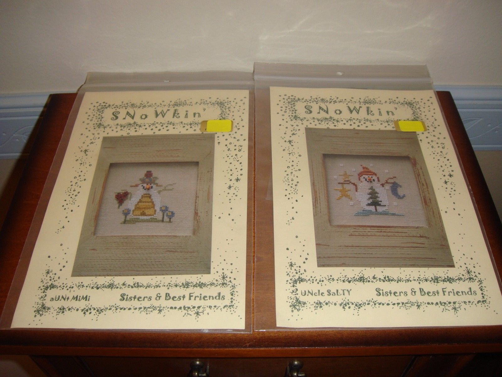 Sisters & Best Friends Cross Stitch Uncle Salty & Aunt Mimi Patterns With Button