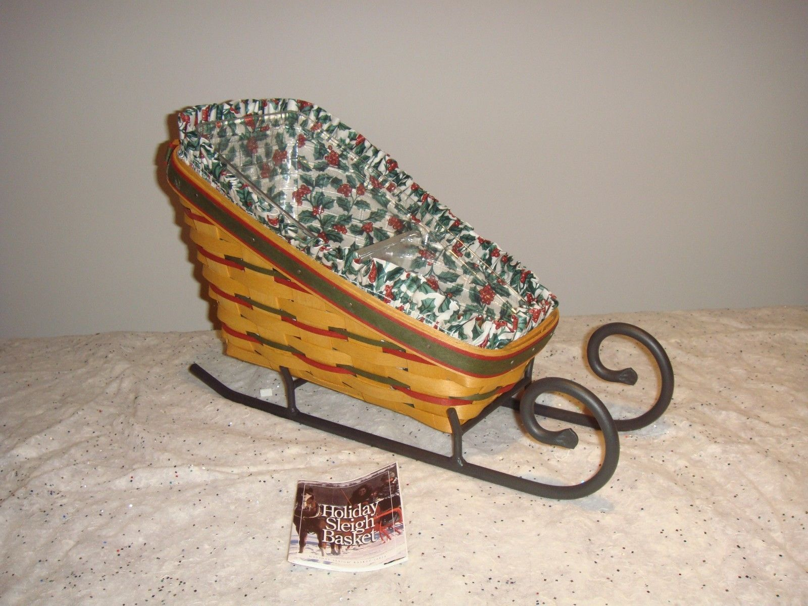 Longaberger 1999 Holiday Sleigh Combo With Liner And Divided Protector