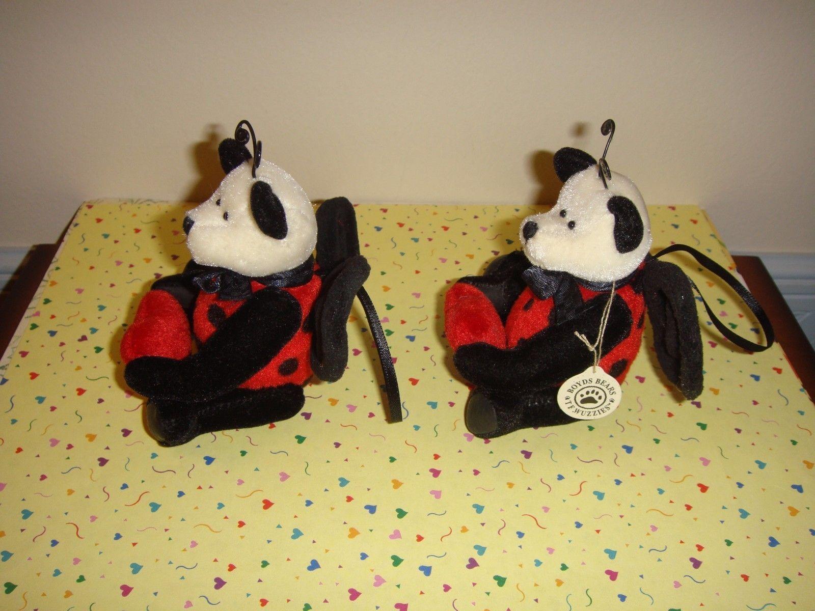 Boyds Bears TF Wuzzies 2 Lady B Lovebug Plush Ornaments