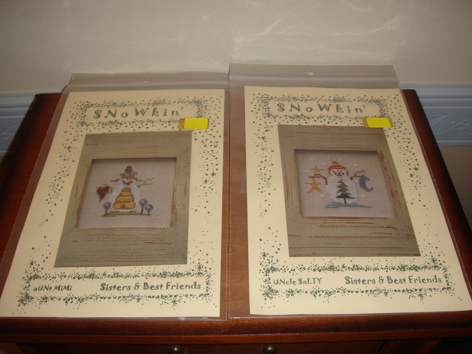 Sisters & Best Friends Cross Stitch Uncle Salty & Aunt Mimi Patterns With Button image 2