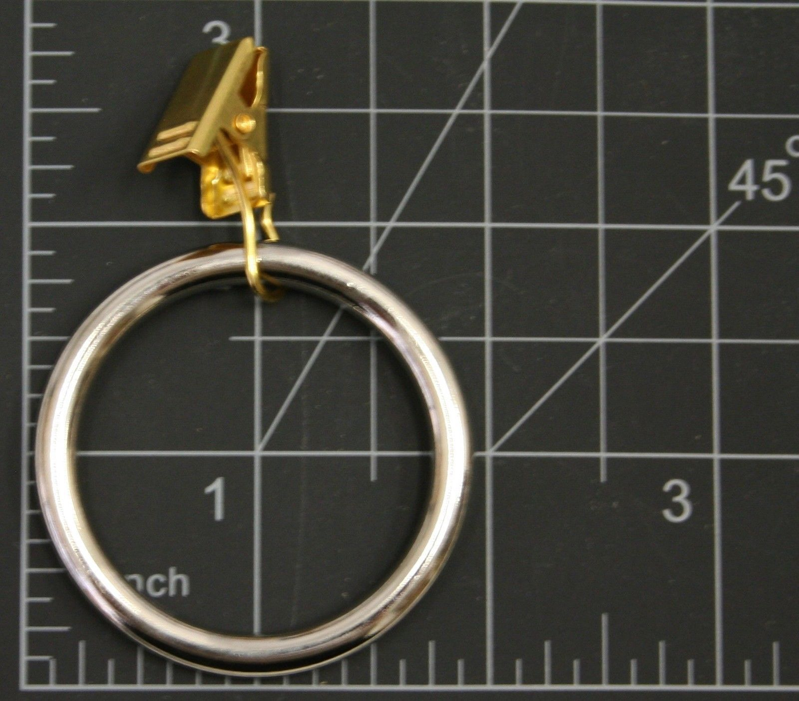 """14 QTY:Premium Polished SILVER Drapery Ring w/ GOLD clips-Extra Thick- 1 1/2"""" ID"""
