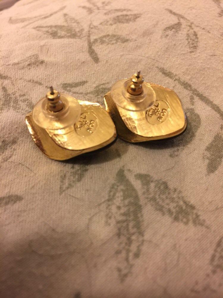 Rose Earrings Black Grandmas Estate Enamel KJL Kenneth Jay Lane for Avon
