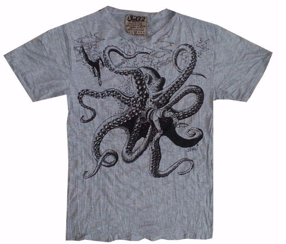 q1 Yoga Men T Shirt octopus Ocean nature Sea Wild  Peace Hobo Boho  L RARE Sure