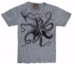 q1 Yoga Men T Shirt octopus Ocean nature Sea Wild  Peace Hobo Boho  L RARE Sure - $15.83