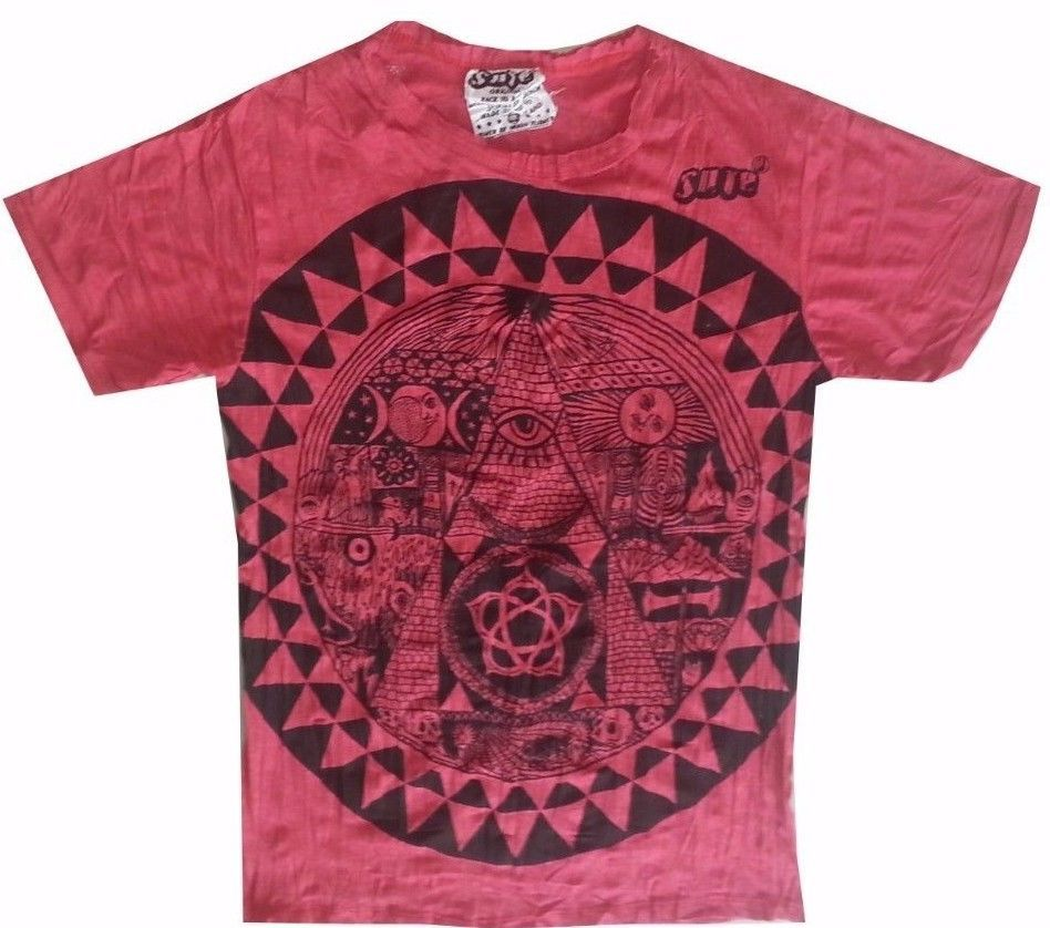 Yoga Men T Shirt Pyramid Egypt Eye Illuminati Zen Meditation Ra Boho M RARE Sure