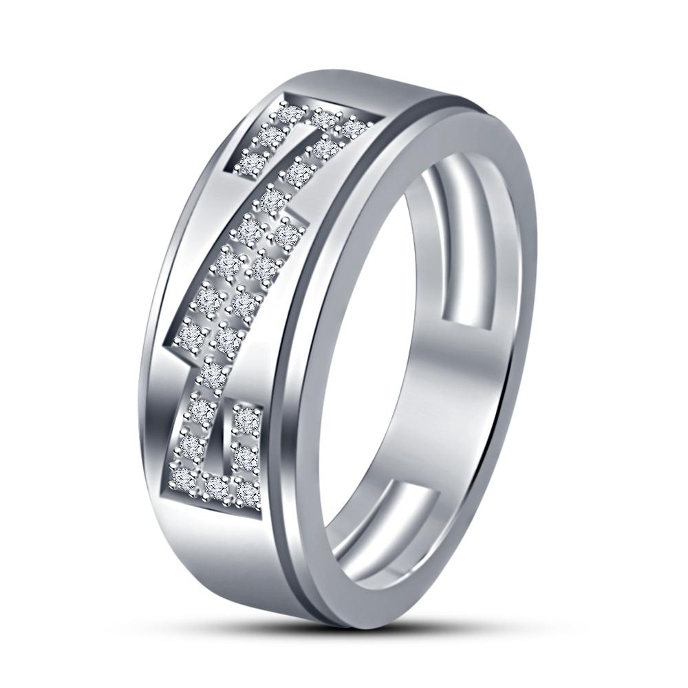 White Sim Diamond 14k White Gold Finish Engagement Trio Ring Set New Fashion