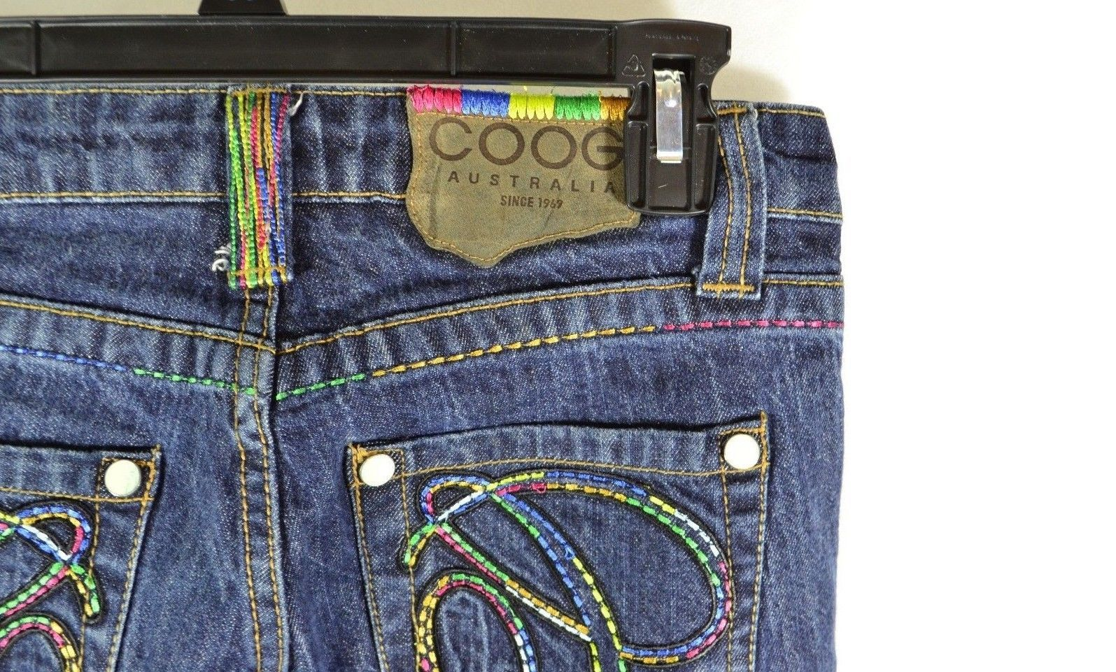 """COOGI JEANS Women's Size 5/6    ( 28.5"""" X 33.5"""" I ) Colorful pockets Rainbow"""