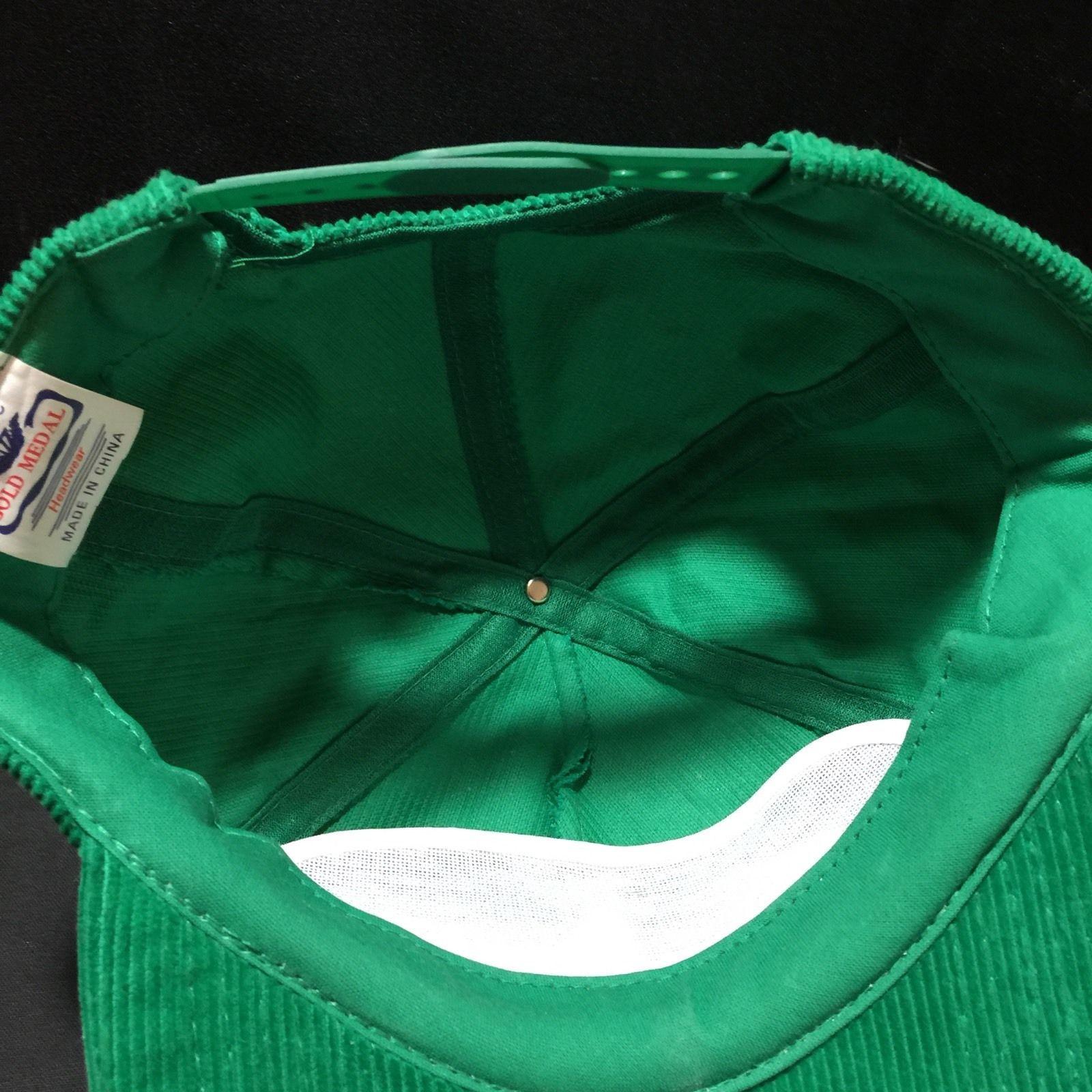 Vintage Corduroy Salem Snapback Hat Cap Green Gold