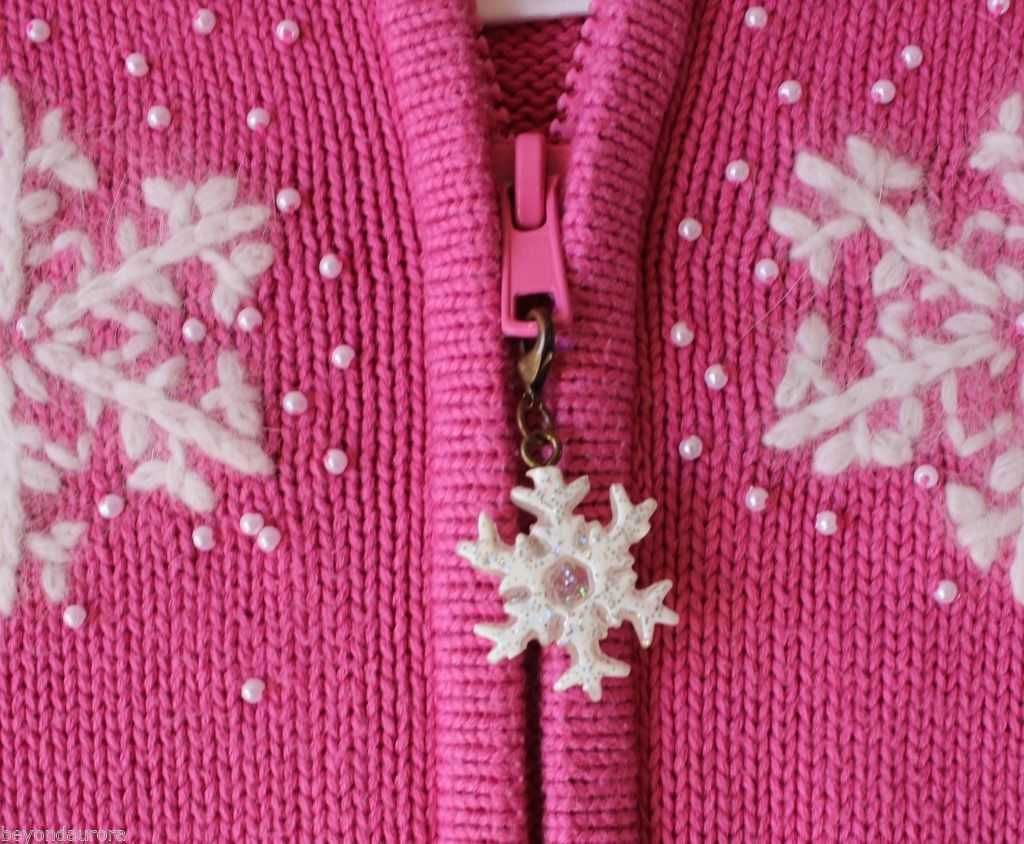 Quacker Factory Pink Angora Beaded Christmas Snowflake Zip Up Sweater Size S