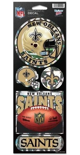 NEW ORLEANS SAINTS PRISMATIC HOLOGRAPH STICKER DECAL SHEET OF 5 NFL FOOTBALL