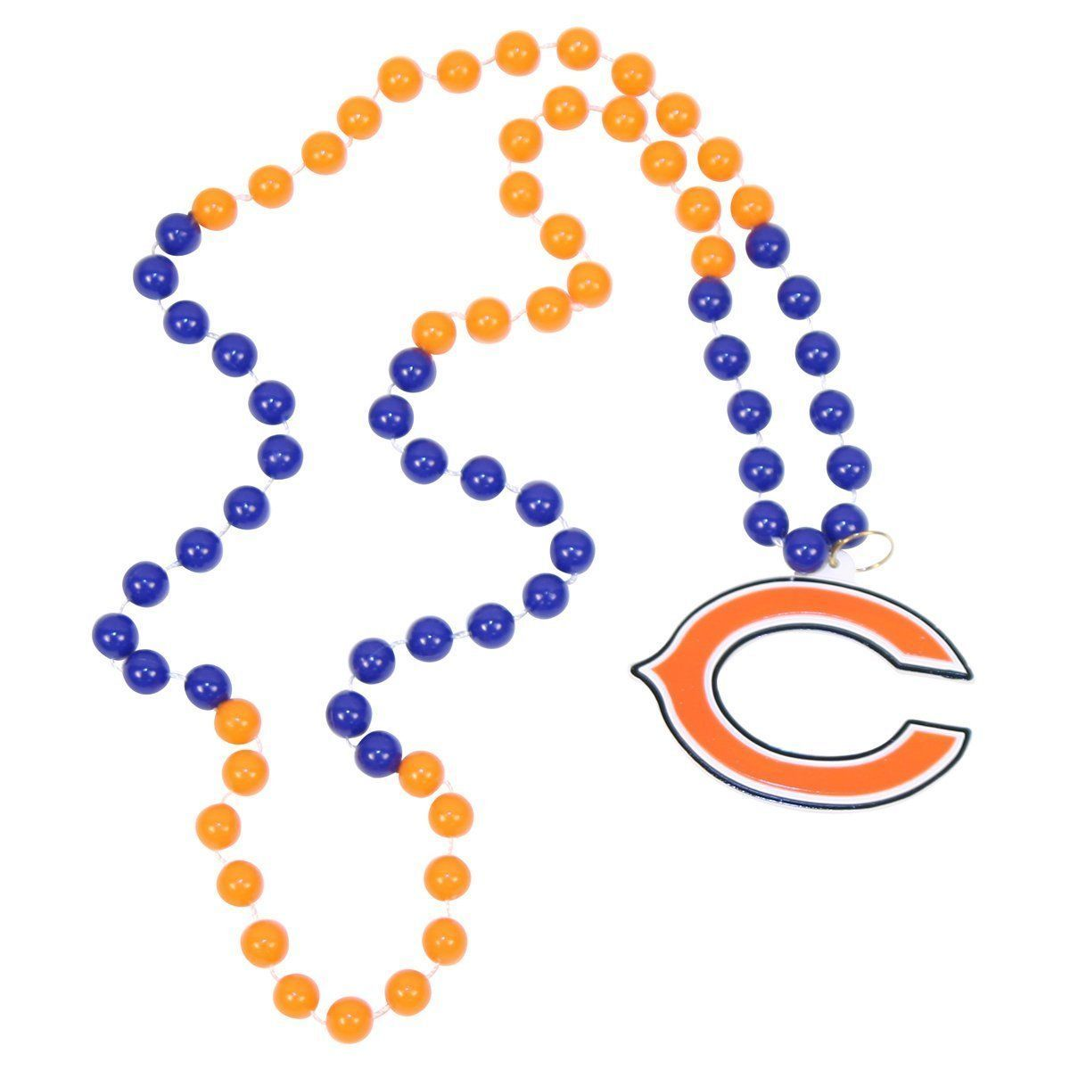 CHICAGO BEARS MARDI GRAS BEADS with MEDALLION NECKLACE NFL FOOTBALL