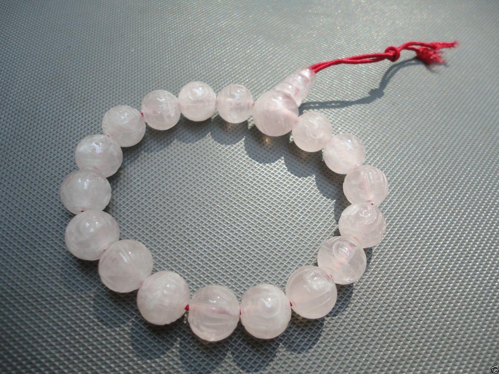Vintage NOS Chinese Rose Quartz Prayer Bracelet Buddhist