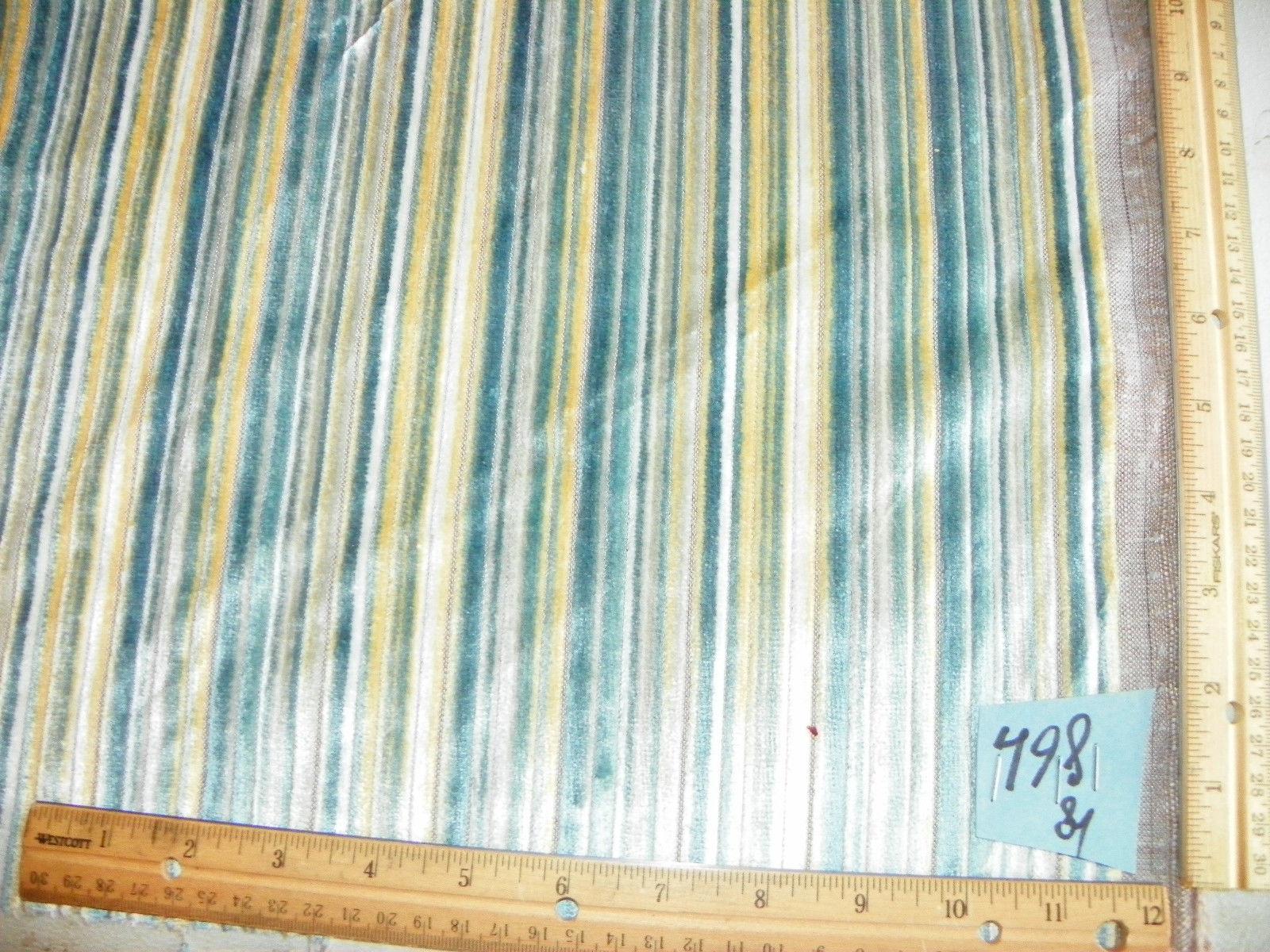 Blue Gold Stripe Velvet Fabric / Upholstery Fabric  1 Yard  R498
