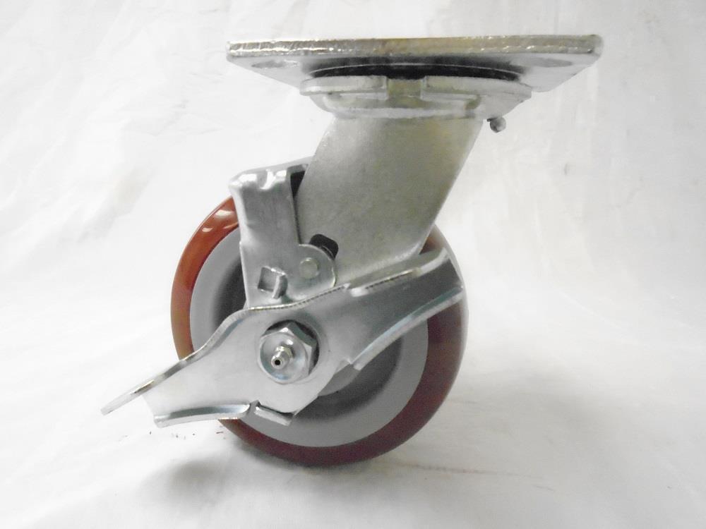 "5"" x 2"" Swivel Casters with Brake Polyurethane Wheel 600 lbs each Tool Box (4)"