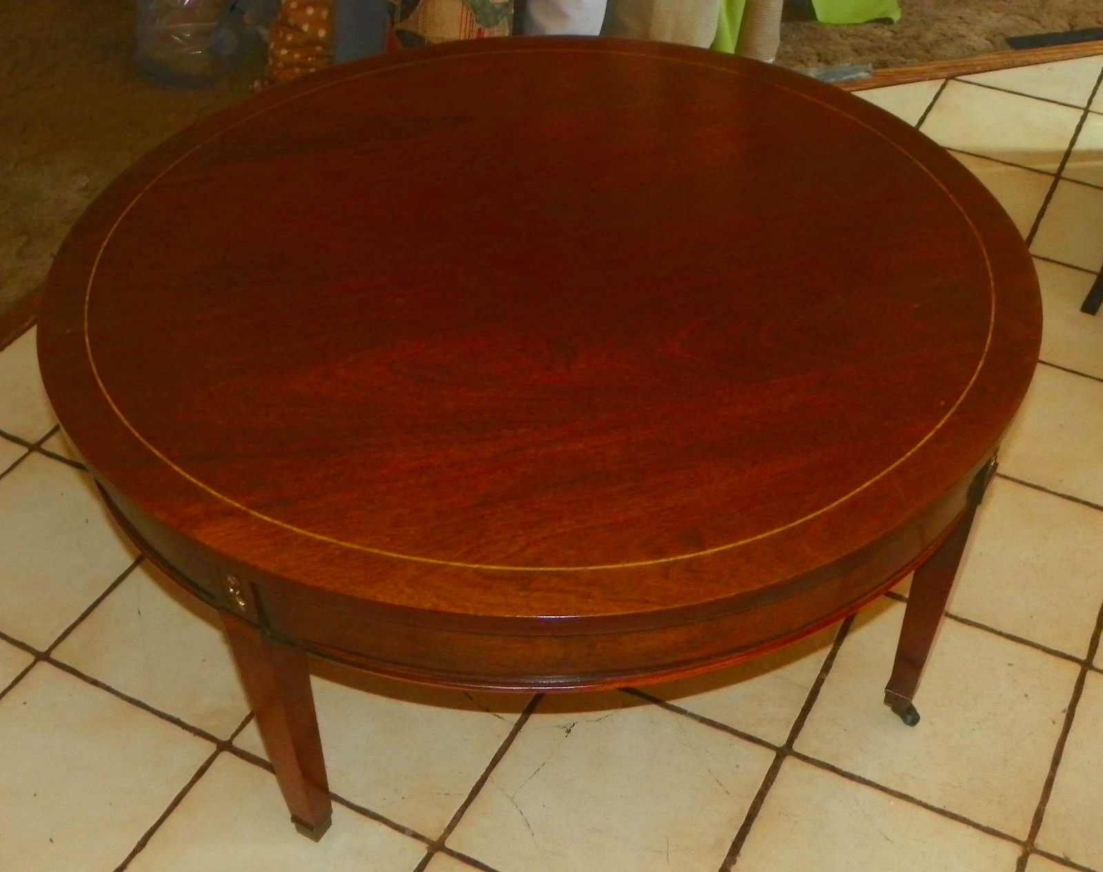 Mahogany Round Coffee Table with Protective Glass Top