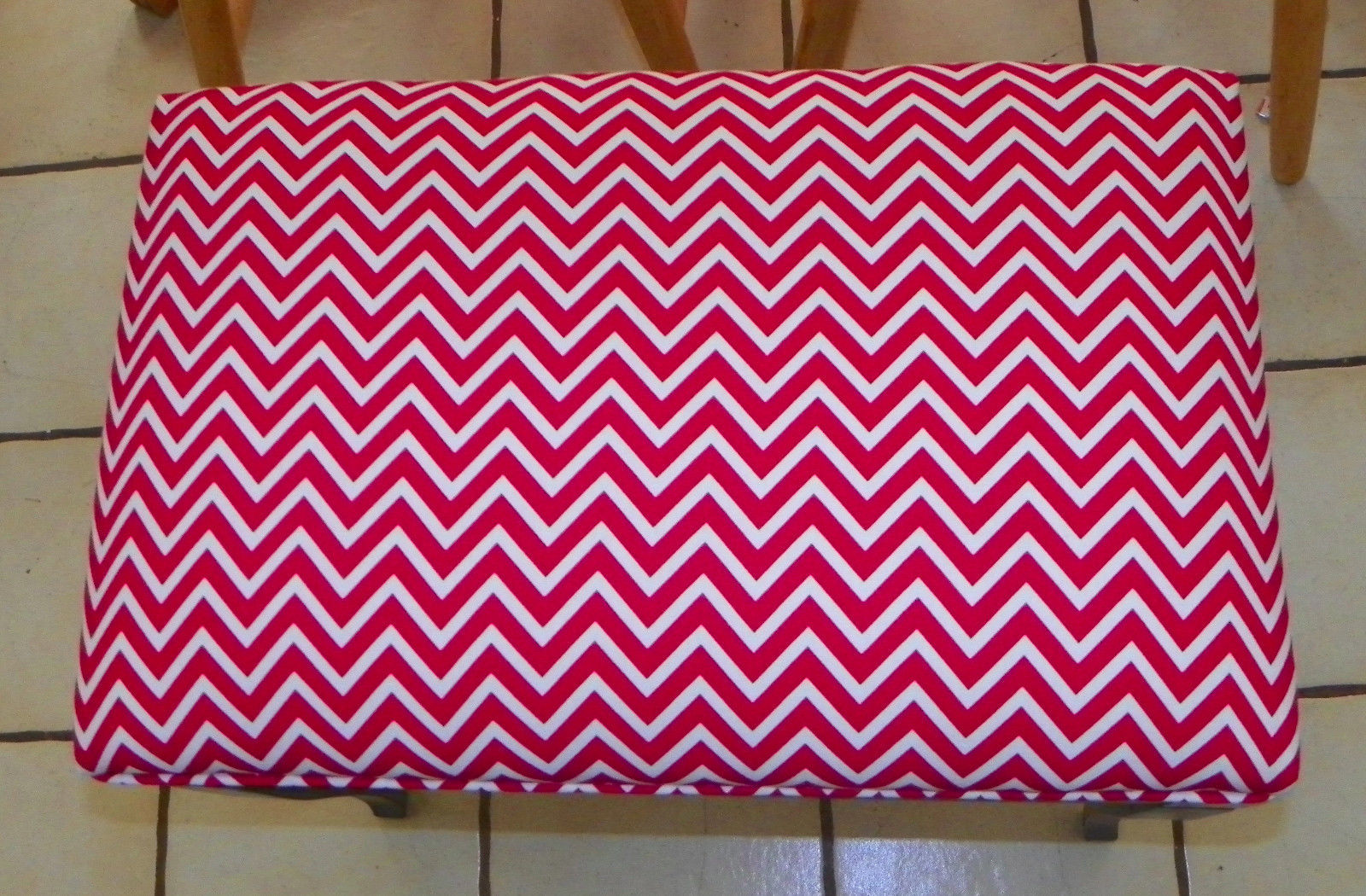Walnut Red Chevron Print Vanity Bench  (BN177)