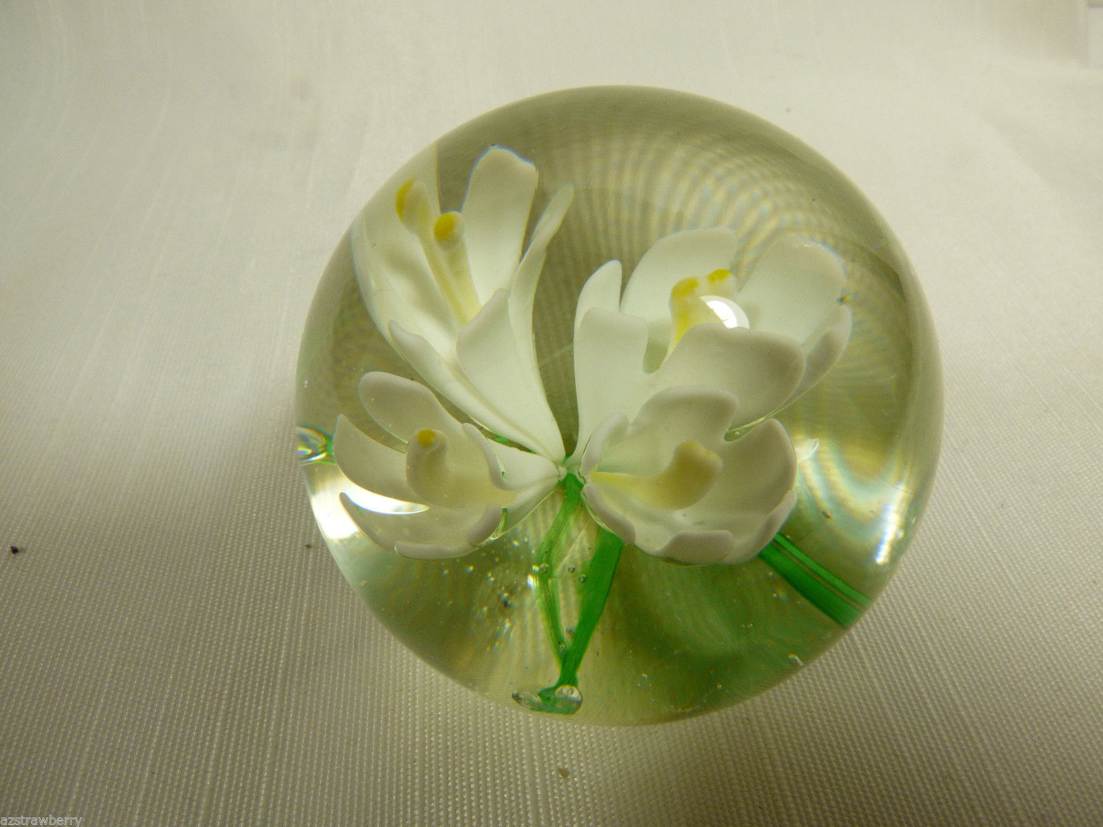 Vintage Clear & White Flower Art Glass  Paperweight