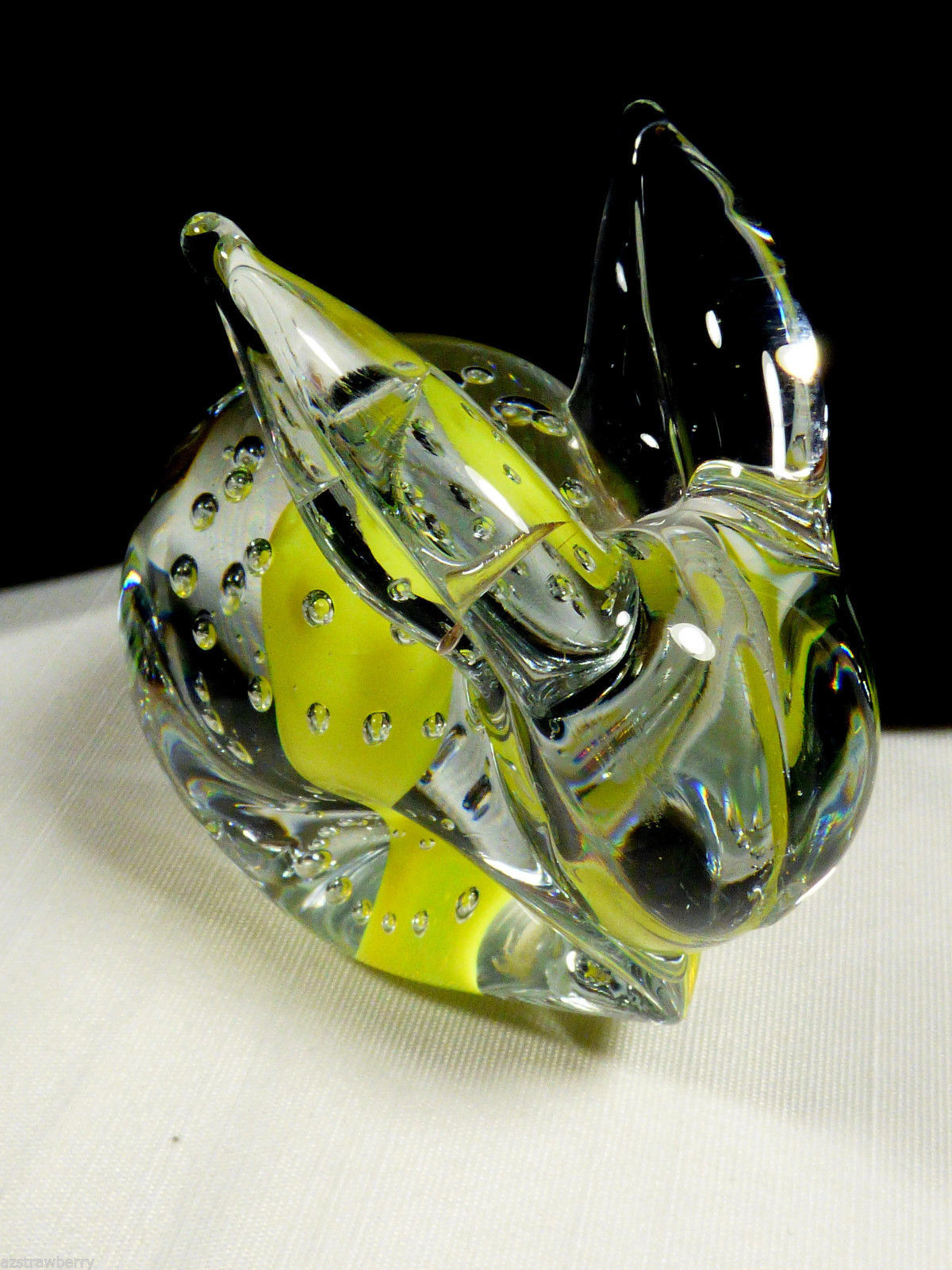 Yellow & Clear Controlled Bubbles Art Glass Rabbit Bunny figurine Paperweight