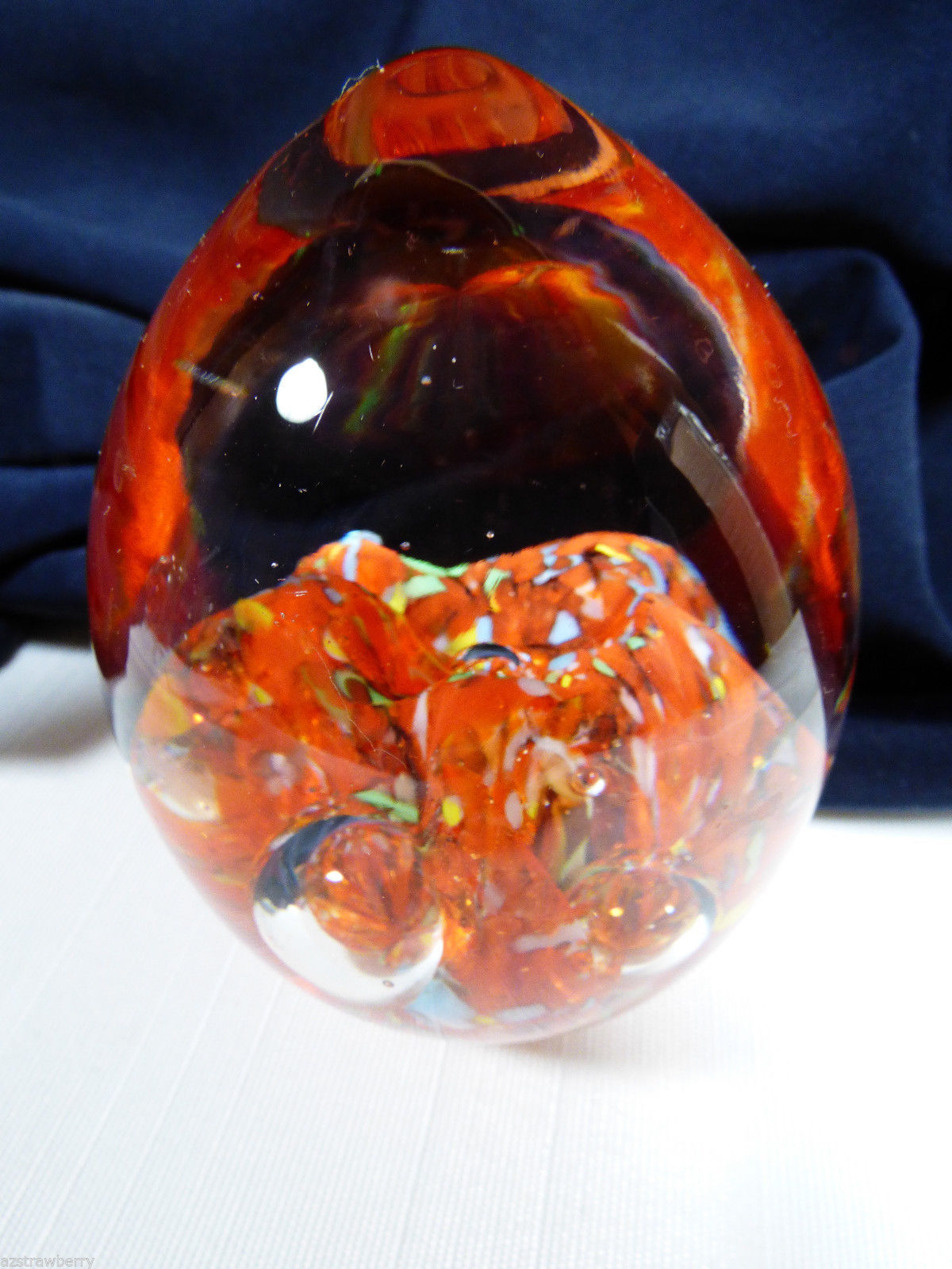 VTG Art glass Controlled Bubble Paperweight Multi color Red  & clear Egg