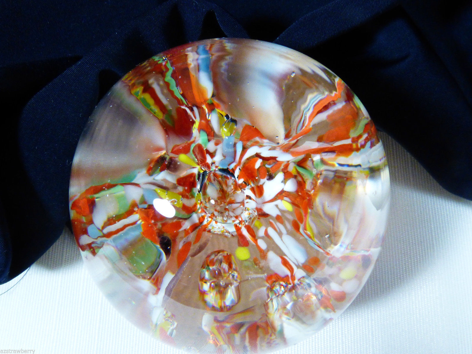 VTG Art glass Controlled Bubbles Paperweight  Multi color  & clear