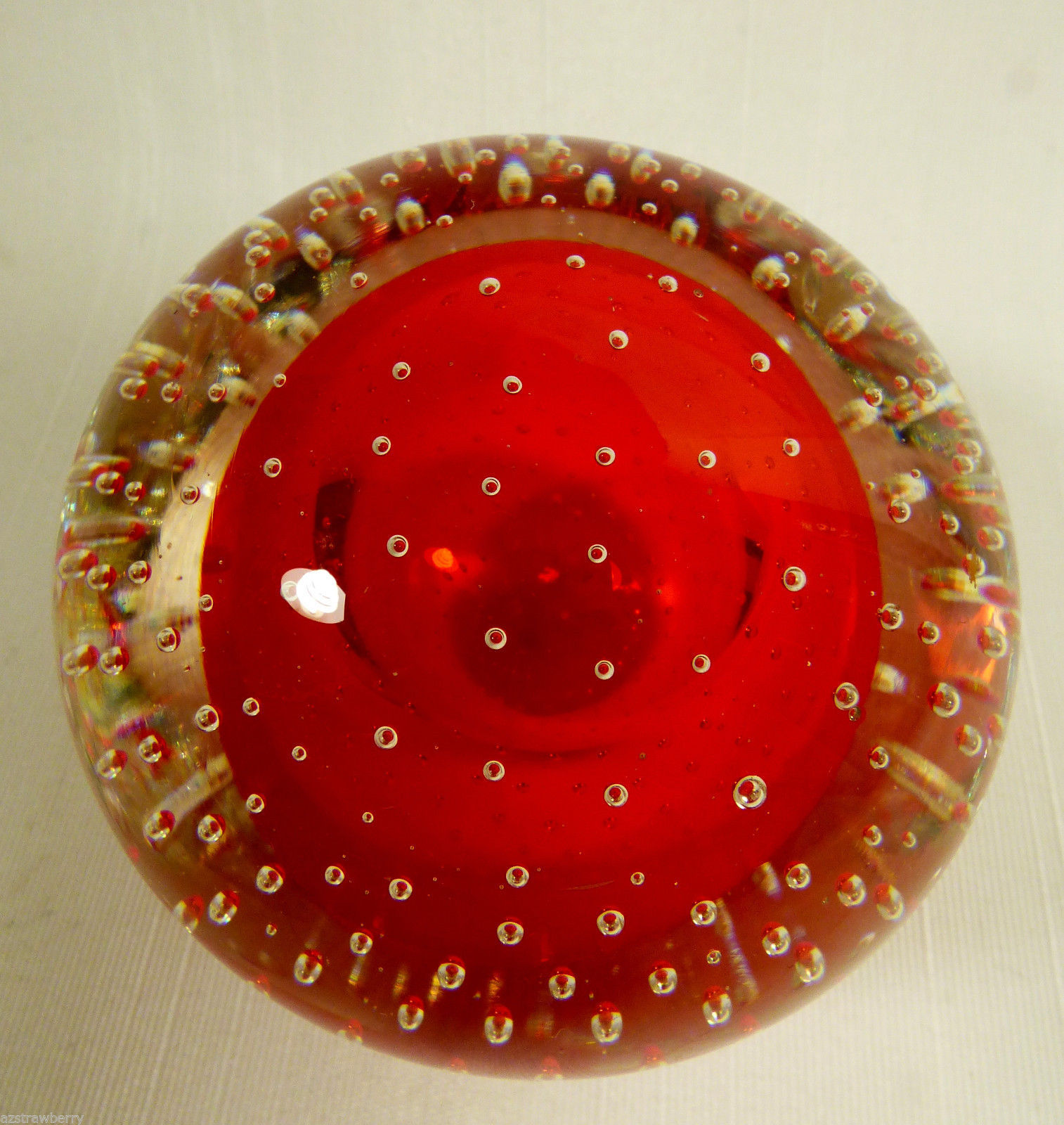 VTG Clear & Red Controlled Bubbles Art Glass Paperweight