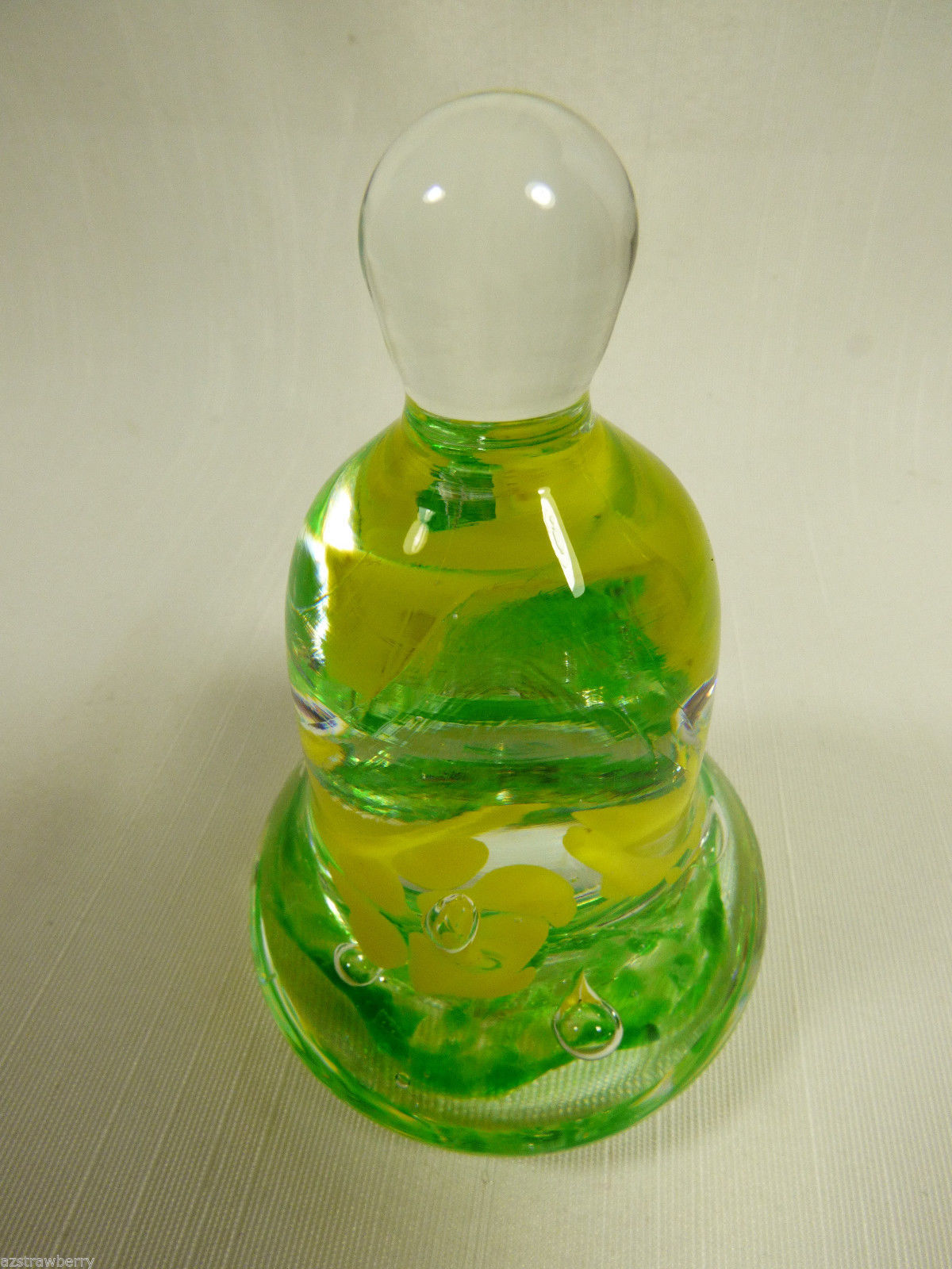 Vintage Clear & Green & Yellow Lilly Flowers  Art Glass Bell Paperweight