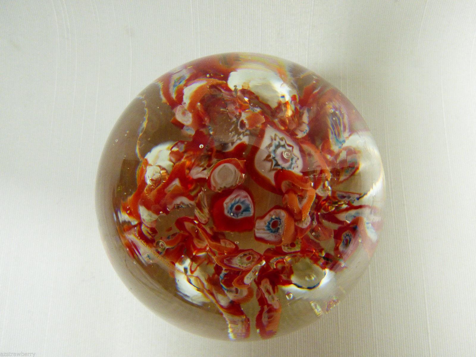 VTG Art glass Millefiori Lilly flower Red & Blue  paperweight