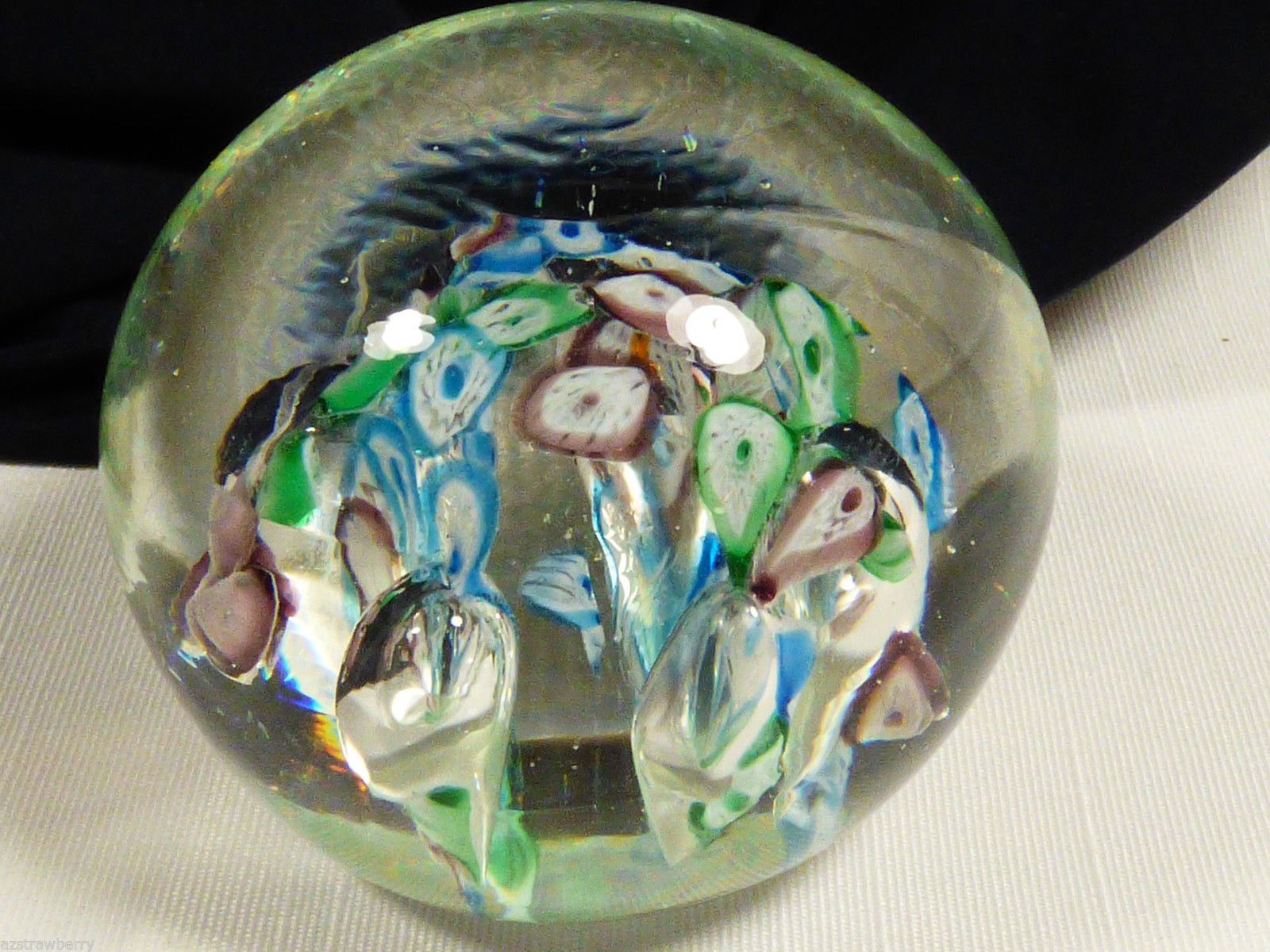 VTG Art glass Millefiori Lilly flower Blue Purple Green Bubbles paperweight