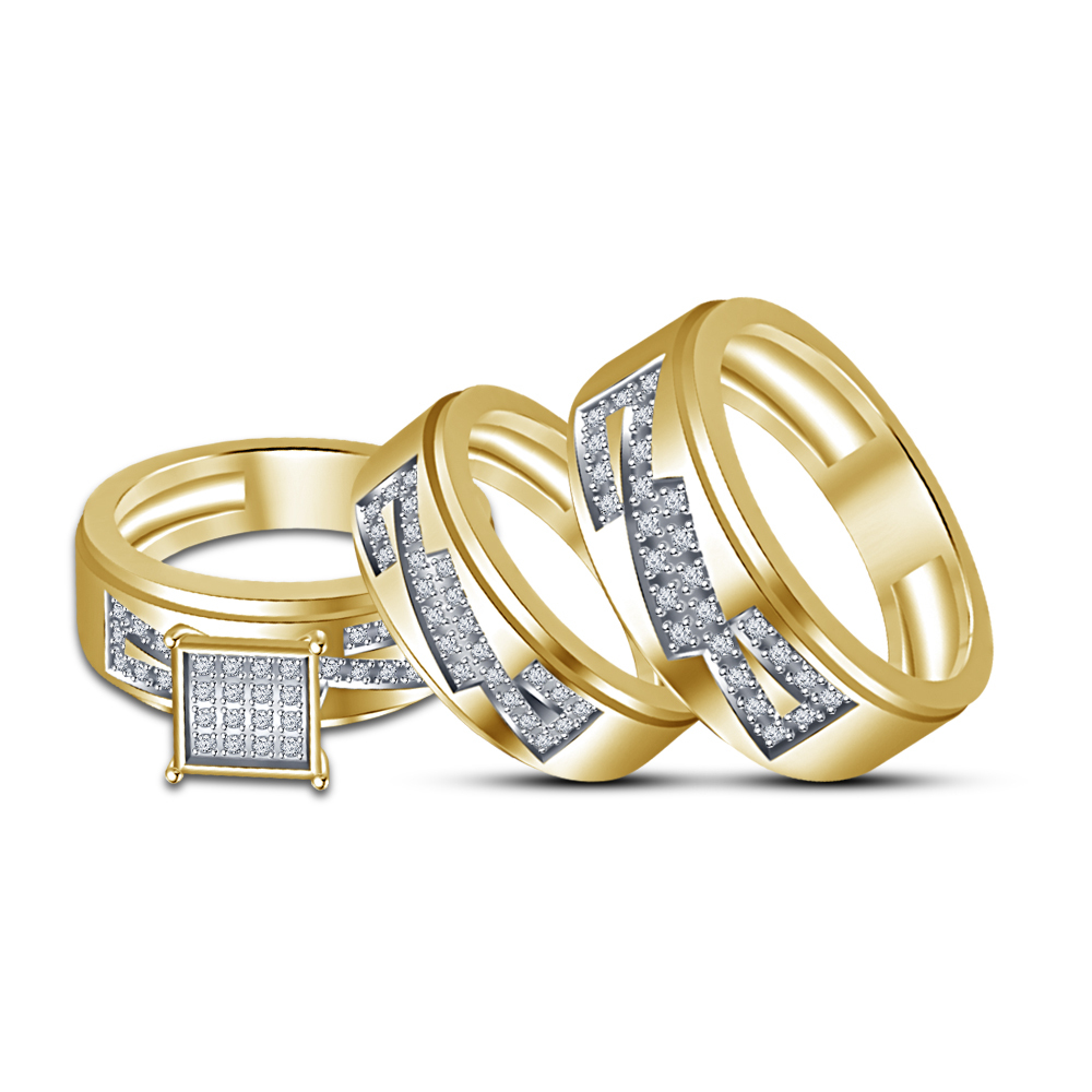 Round White CZ 14K Yellow Gold Fn 925 Silver His & Her Engagement Trio Ring Set