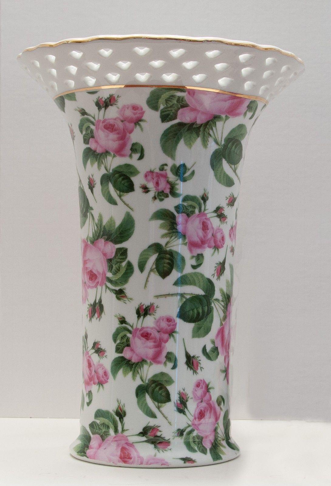Baum brothers vase 2 listings vase baum brothers formalities pink rose chintz vase gold trim pierced rim 3250 reviewsmspy