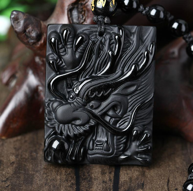 natural Obsidian stone Hand carved Chinese dragon good luck pendant necklace