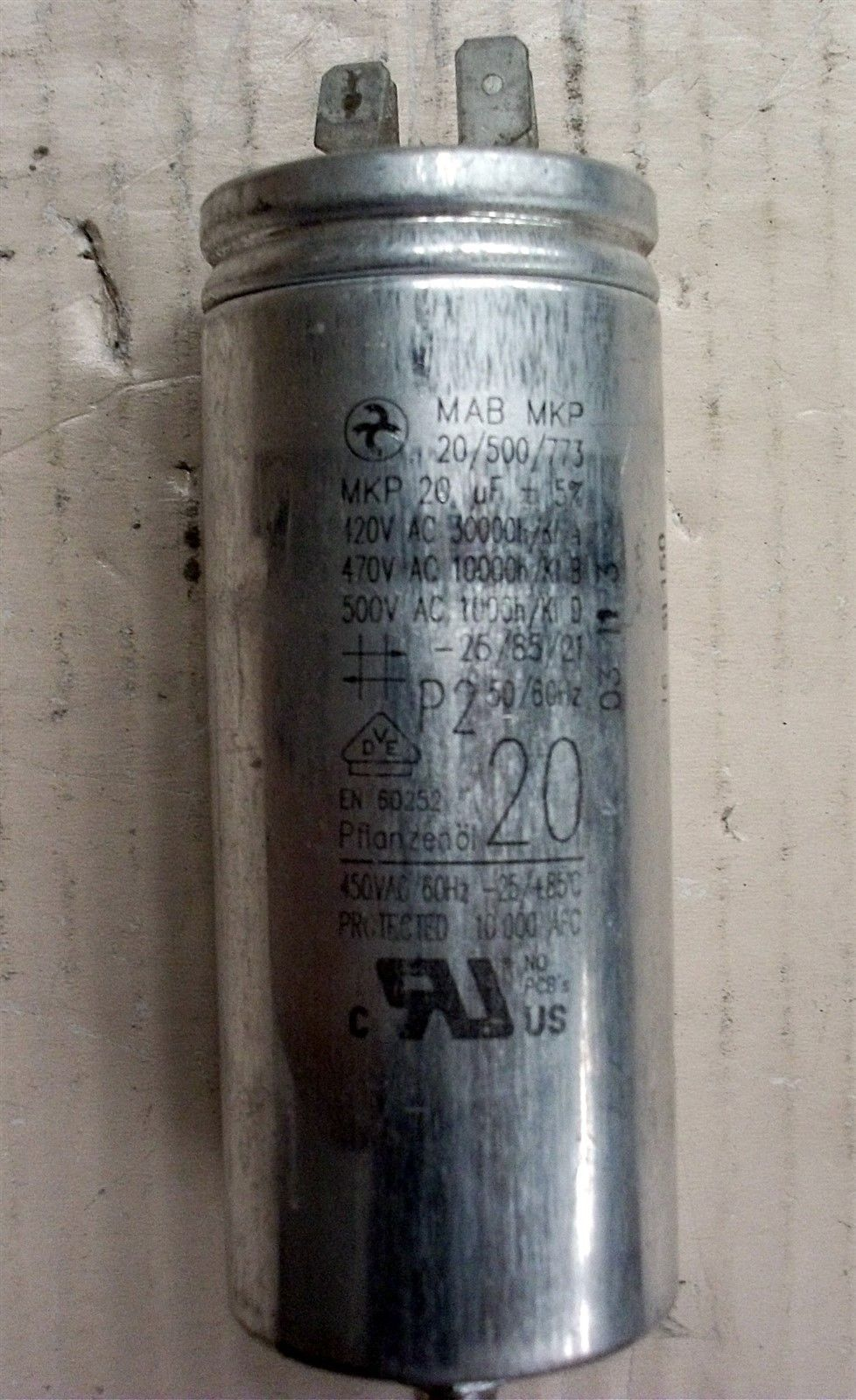 MAB CAPACITOR, MOTOR START/RUN 20uf 420v 470v USED