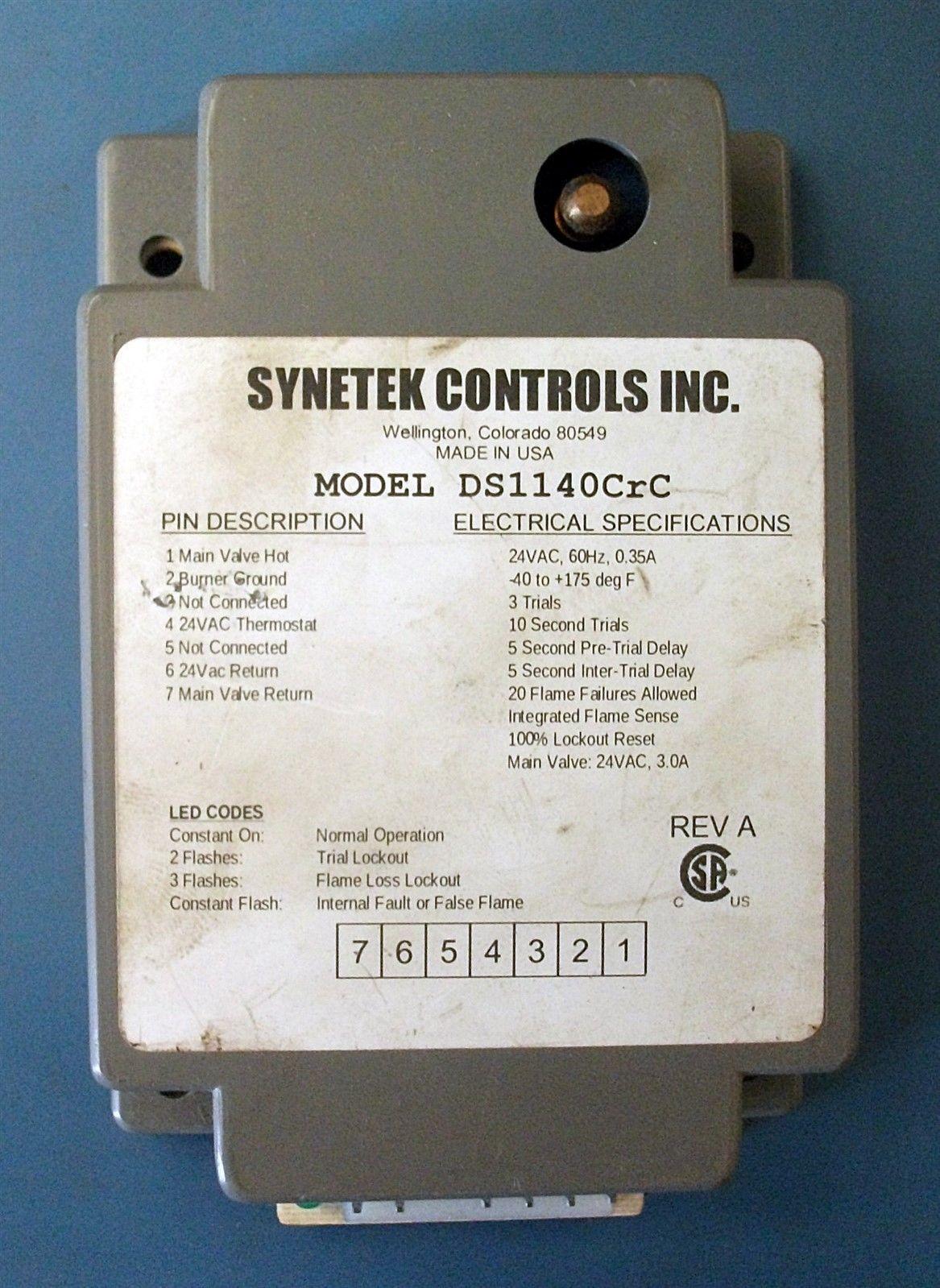 SYNETEK DS1140CrC DIRECT SPARK CONTROL used 24V 60Hz 0.35A