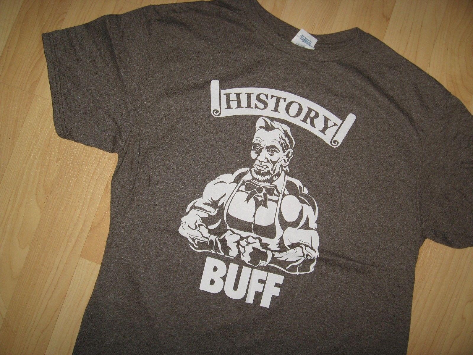 History Buff Tee - USA President Abraham Lincoln Weightlifter Muscle T Shirt Med